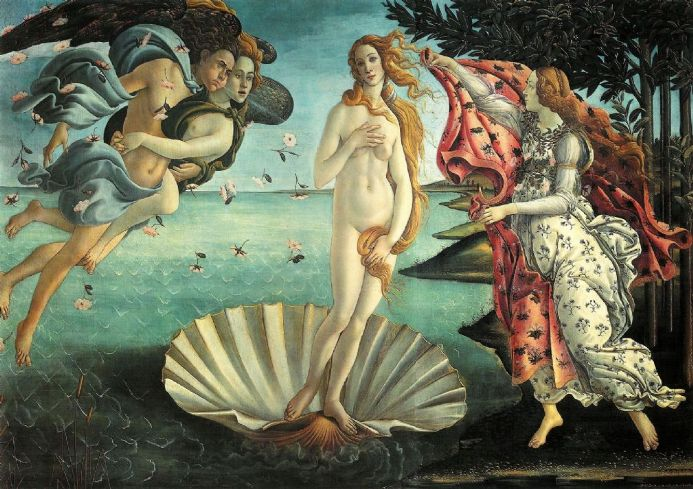 Botticelli, Sandro: The Birth of Venus. Fine Art Print/Poster. Sizes: A4/A3/A2/A1 (00310)